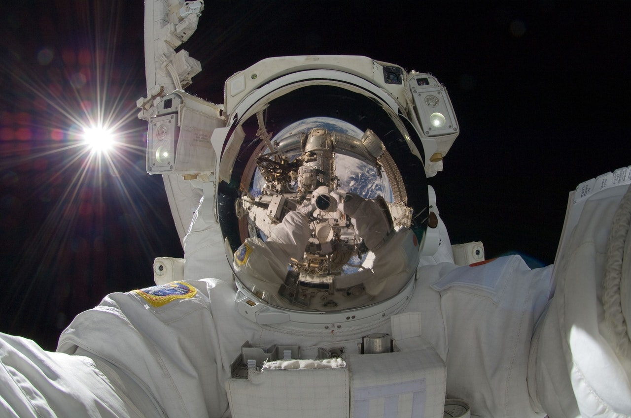 Close up of an astronaut in space to represent mission statements