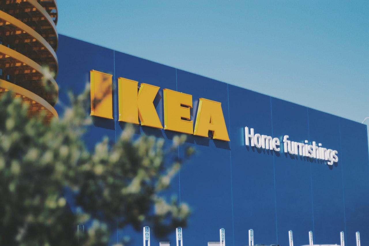 The IKEA logo on one of their retail stores from the outside