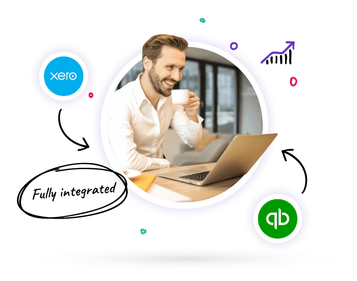 Finance professional on laptop using Lucidity strategy software to automatically track strategic results through integrations