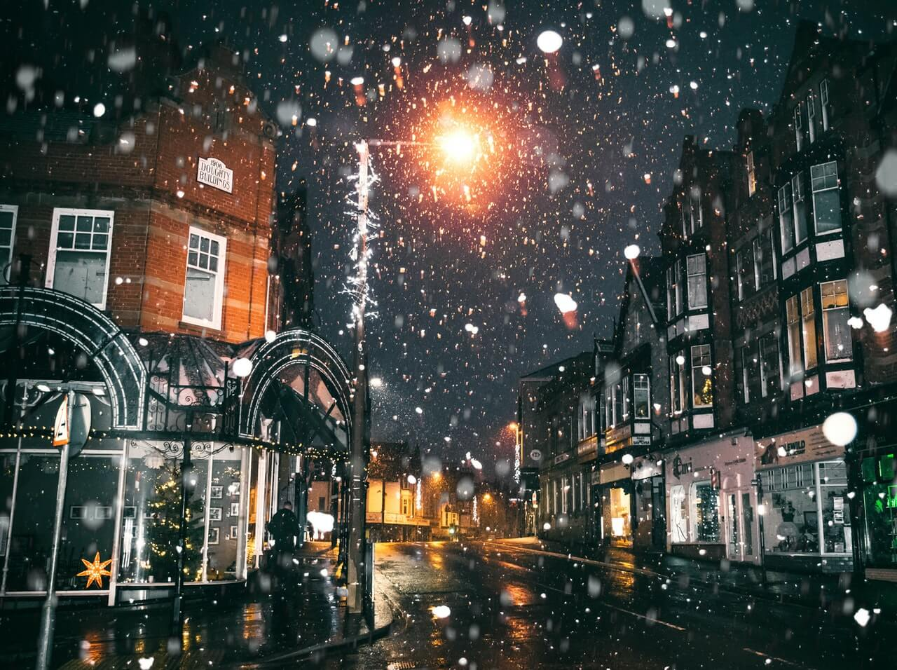 Night time in a town street at Christmas