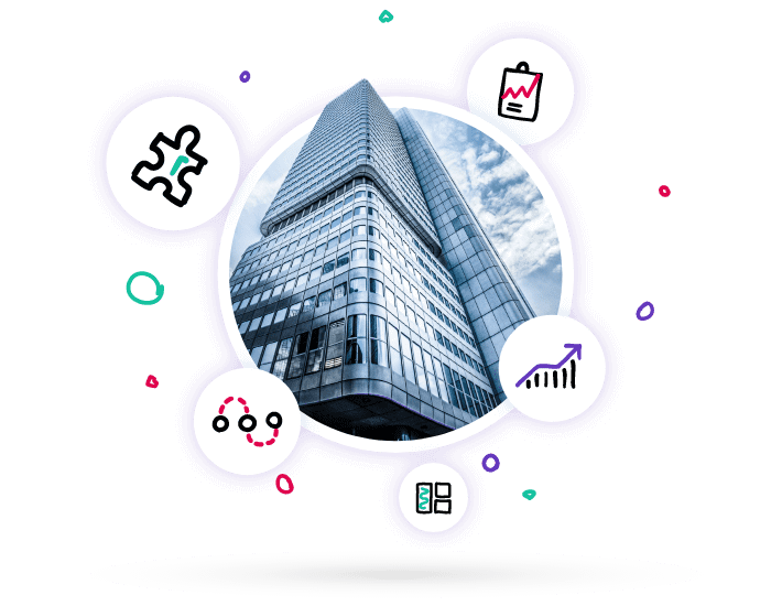 Enterprise business office block and data and connectivity icons to demonstrate how Lucidity strategy software automates strategic management