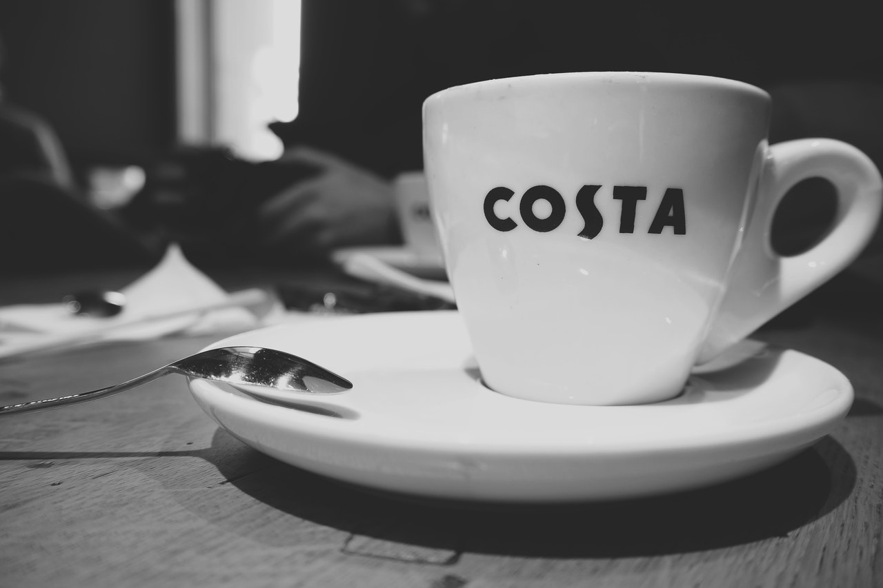 A Costa coffee cup