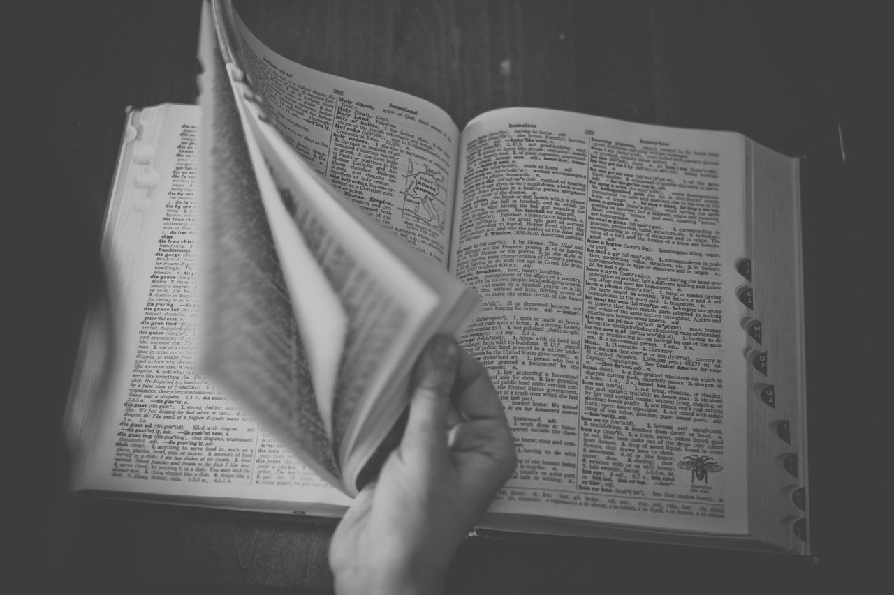 A dictionary being opened