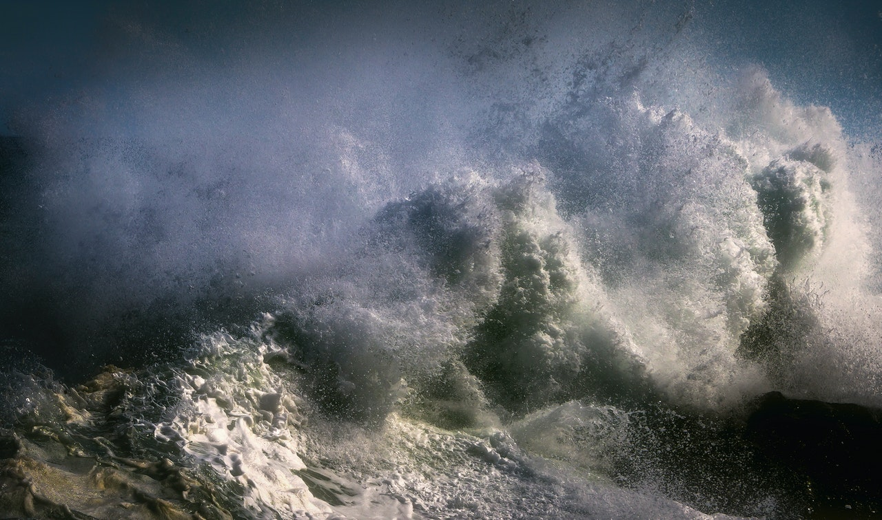 Crashing waves to represent external forces