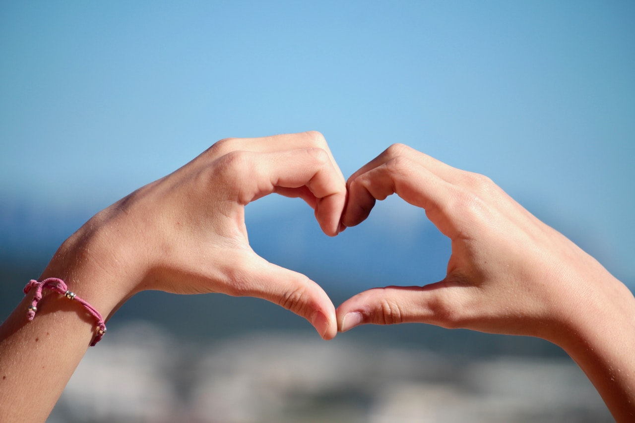 Heart shape made by two hands