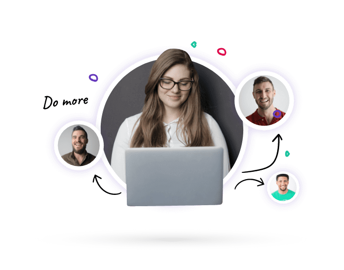 A strategy consultant at a laptop with lots of client faces around her working with them all simultaneously thanks for Lucidity strategy software
