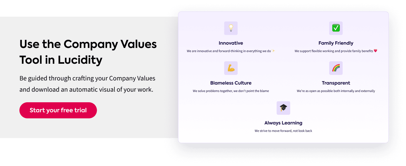 Company Values Interactive Tool in Lucidity Strategy Software