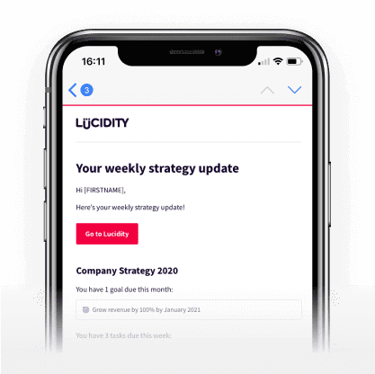 An email with updates on your strategy