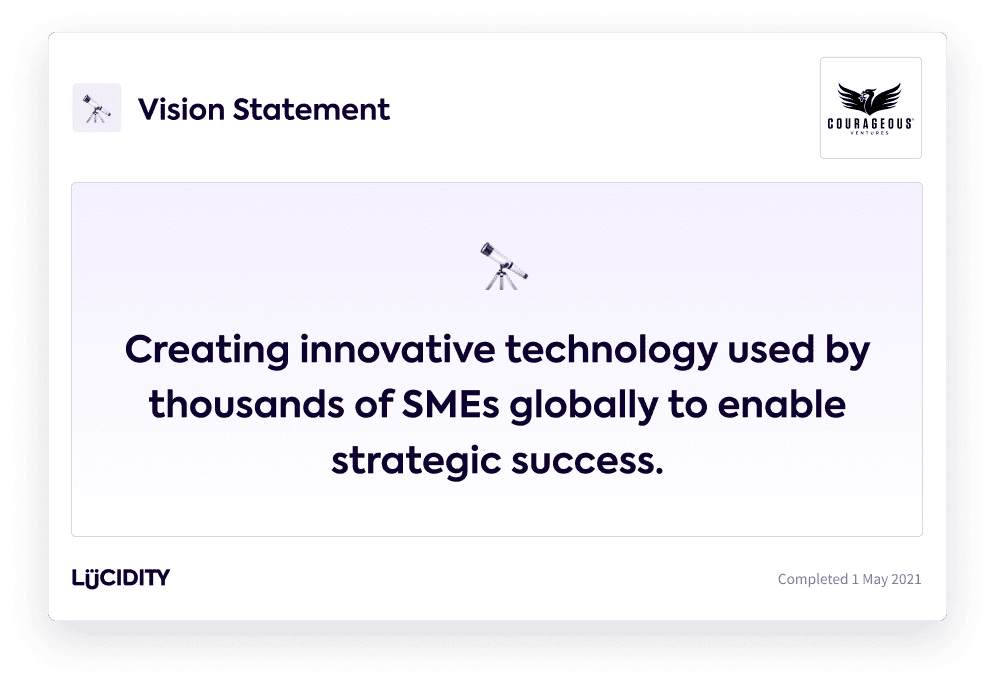 A vision statement example: