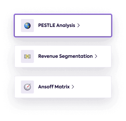 A list of tools; PESTLE Analysis, Revenue Segmentation and Ansoff Matrix