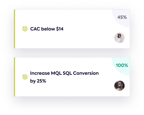 Two example goals of CAC below $14 and increase marketing conversion