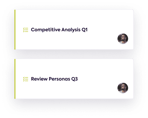 Two example initiatives of competitive analysis and reviewing personas