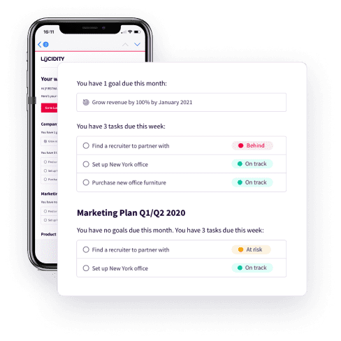 An email with a list of Goals and Tasks