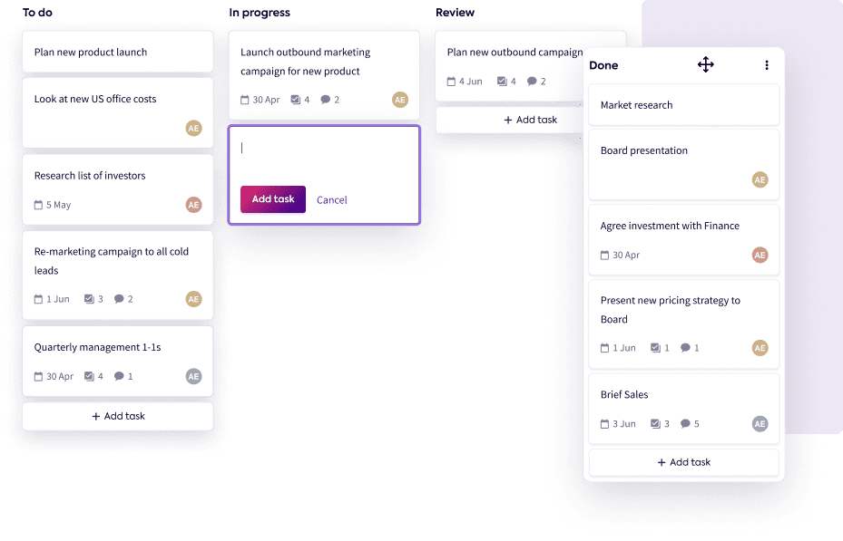 A board view of tasks showing lists that can be customized