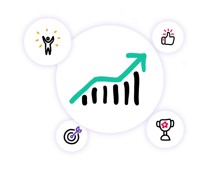 Growth charts, targets hit and winning trophies show the success a sales team can expect when their sales strategy is in Lucidity strategy software