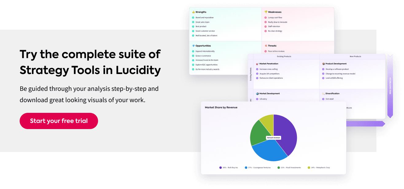 Examples of strategy framework tools in Lucidity Strategy Software