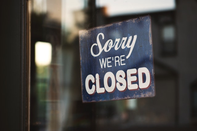 Closed Down Sign