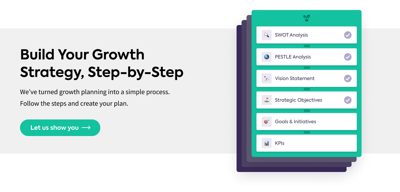 Step-by-step growth strategy toolkit in Lucidity strategy software