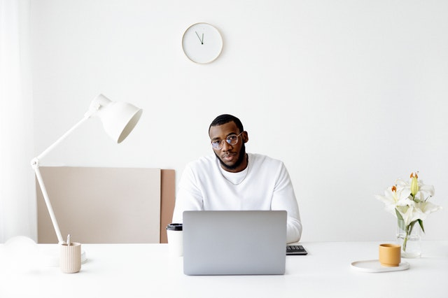 A chief strategy officer at his desk