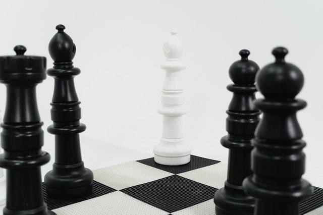 Chess pieces to represent a position defense marketing strategy